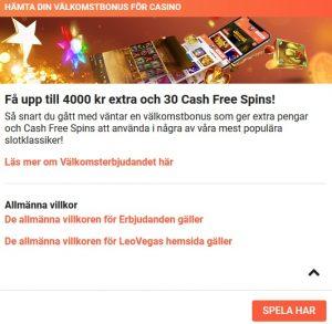 Hämta casino bonus på LeoVegas Casino!